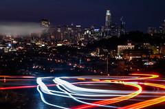 turn it around (pbo31) Tags: sanfrancisco california night dark city august 2017 summer boury pbo31 nikon d810 roadway lightstream traffic motion bernalheights over skyline urban salesforce fog color construction turn around