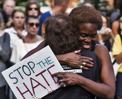 Stop the Hate Hug - Charlottesville Solidarity NYC (Alexander H.M. Cascone [insta @cascones]) Tags: nyc new york city protest march signs people interracial sign hug friendship charlottesville solidarity antinazi antifascism black white affection protestor