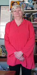 Libby in New Blouse 2 (kevin63) Tags: lightner libby baileylightner blouse red folkwear jewelsofindia indian silk raw woman homesewn sewing project
