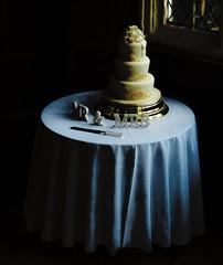 Mr & Mrs (Steve Taylor (Photography)) Tags: table tablecloth knife wedding icing gold marzipan art digital black blue brown dark window uk gb england greatbritain unitedkingdom kent bexley hallplace reception cake