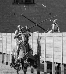 IMPACT, KNIGHTS JOUSTING, BOLSOVER CASTLE, DERBYSHIRE_DSC_6147_LR_2.0 (Roger Perriss) Tags: bolsovercastle horses joust medieval d750 lance armour gallop blackandwhite castle impact clash contact fair