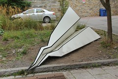 Crash Scene (David K. Edwards) Tags: airplane paperairplane installation roadside montreal quebec canada dirt gravel concrete