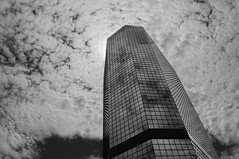 Clouds And Mirrors (gpa.1001) Tags: clouds skyscraper mirrors blackandwhite bw sandiego downtown