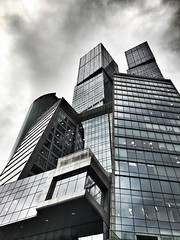 Moscow City lines in order (NO PHOTOGRAPHER) Tags: hochhaus gebäude cityscape skyline detail construction blackandwhite monochrome architecture architectural urban building outdoor iphoneography iphonephotography exterier russia moscowcity technoart sky clouds moscowphotography blue skycraper iphone 6s panorama panoramatic москва россия архитектура строительство река мост