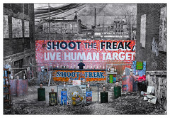 Trump Jr.  - Shoot the Freak (GAPHIKER) Tags: coneyisland livehumantarget paintball shootthefreak newyork attraction boardwalk 20002010 freak live human target texture skeletalmess macabre strange happyslidersunday hss