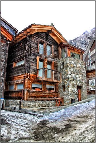 Log Hut, Oberdorfstrasse, Zermatt, Canton du Valais, Switzerland