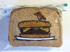 Large Cheeseburger or Tiny Bird? (D Laferriere) Tags: kritzels attleboro laferriere bird cheeseburger sandwich bag art sharpie