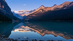 Sunrise Reflection (Bob C Images) Tags: sunrise light mountains glaciers lake water reflections forest trees morning dawn canada lakelouise travel sony a7rii