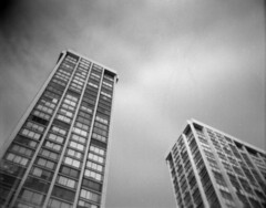 Urban forms (pabs35) Tags: film believeinfilm blackandwhite bw mediumformat 120 ultrafine extreme 400 holga holga120s chicago highrise buildings architecture