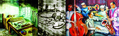 Carpintaria antiga (aquarela); Ceia (acrílica em painel); Jazz4you (acrílica em painel). Anderson Monteiro