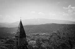 20768 - Campanile (Diego Rosato) Tags: campanile bell tower panorama landascape montagna mountain alberi trees rocca calascio rook bianconero blackwhite nikon d700 50mm rawtherapee