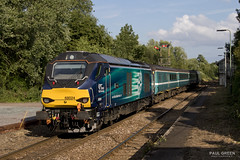 68024 trails from Brundall working 2P34 1804 Norwich - Great Yarmouth 20/7/2017 (Paul-Green) Tags: class 68 vossloh eurolight diesel engine 68024 68005 brundall norwich gt great yarmouth passenger service drs direct rail services aga abellio greater anglia flickr canon camera outdoors railways tracks station norfolk july 2017 uk trains stock engines old style signals 2p34 1804