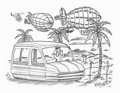 KooKarachi (rod1691) Tags: bw scifi grey concept custom car retro space hotrod drawing pencil h2 hb original story fantasy funny tale automotive art illistration greyscale moonpies sketch