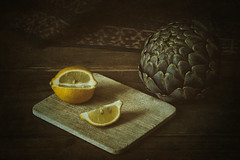 Artichoke and Lemon (suzanne~) Tags: stilllife tabletop lemon artichoke food vegetable fruit painterly chiaroscuro