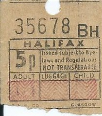 Halifax Corporation Passenger Transport Bus Ticket - 5p (Ray's Photo Collection) Tags: halifax ticket billet 5p corporation passenger transport bus buses scan scanned west yorkshire yorks
