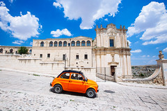 Orange Fiat in Matera (Richard Brundage) Tags: canon italy travel matera basilicata orange fiat puglia apuglia car it