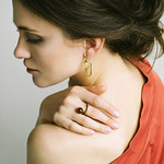 Cherry Amber Curved Ring and Geometric Amber Earrings thumbnail