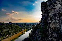 Let's travel wherever the sun goes! (sebastian_voeller) Tags: saxonswitzerland sächsischeschweiz river sunset elbe saxon sachsen sonnenuntergang germany gebirge viewfromthebastei nationalpark nationalparksächsischeschweiz scenery nature natur elbsandsteingebirge