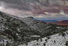 Where the Snow Ends (Ellsasha) Tags: mountain middleatlasmountains snow trees vegetation sky skyline skies clouds storm storms morocco northafrica