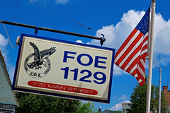F.O.E., Brookville, IN (Robby Virus) Tags: brookville indiana in foe fraternal order eagles organization 1129 sign signage american flag flagpole