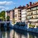Colorful Houses and Restaurants on the Bank of the River Ljubljanica, Ljubljana, Slovenia