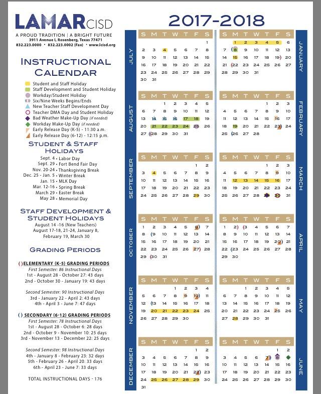 Lamar Consolidated Isd Calendar Har