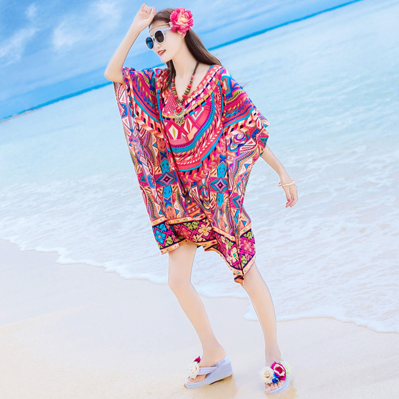 2017 summer new women's loose printed chiffon dress, Bohemia skirt, seaside beach skirt