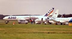 Farnborough 13 September 1992 (ACW367) Tags: farnborough se003 saab2000 cccp64006 tupolev tu204 fwwba airbus a340200 prototype farnboroughinternationalairshow