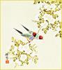 Japanese rose and Gouldian finch (Japanese Flower and Bird Art) Tags: flower rose rosa multiflora rosaceae bird gouldian finch chloebia gouldiae estrildidae koho shimada nihonga shikishi japan japanese art readercollection