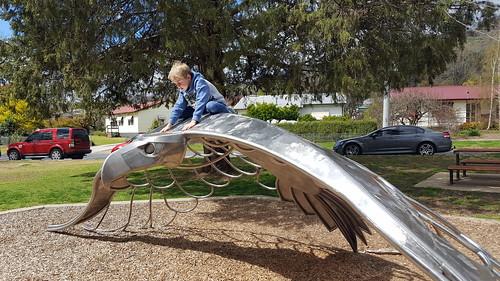 Cam riding the Bunjil sculpture