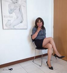 Black skirt, gray blouse, black high heels. Vol 2 (Elsa Adriana) Tags: elsaadriana elsa sexylegs mexican mature miniskirt tgirl travesti transvestite tbabe tv transgender transgenero secretary skirts highheels