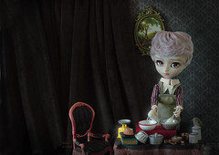 Nothing has ever been easy here. (The Migratory Dreamery) Tags: pullip pullipcustom isul customisul kikichrysanthemum pink bakery baking kitchen dessert confectionery flour sugar cake dark old vintage tale story mystery sad orphan studio rewigged rechipped handmadedollclothes apron luts junplanning groove doll dolls toys dollphotography toyphotography art rement miniatures