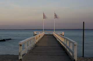 late afternoon shot of a small pier