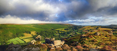 Hamel Down fogbank (OutdoorMonkey) Tags: hameldown honeybagtor dartmoor moor moorland valley devon countryside outside outdoor pano panorama panoramic cloud morning sunshine sun sunlight fog fogbank rural nature scenic scenery eastwebburn