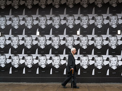 Man with Umbrella - August 2017 (stevedexteruk) Tags: oxfordstreet city westminster billboard face advertising man umbrella london uk bhs repetition replete repeat
