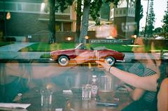 cheers (Maureen Bond) Tags: va ca east west film filmswap doubleexposure scanned kodak lca girls celebrating car karmannghia convertable drinks beer thesunkenwell fredericksburg
