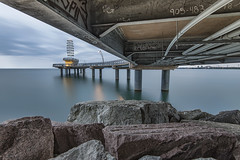 Below the Brant Street Pier, Burlington Ontario (angie_1964) Tags: sunrise cloudy bridge pier burlington ontario canada sky rocks nikond800e explore