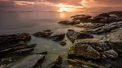 North Sea Sunset Dream (Kurt Evensen) Tags: landscape sunset nature leefilter cottonwaves le rockyshore weather rogaland norway longexposure sky seascape sea shore magenta smooth no