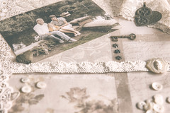 31/52: When we were young... (judi may) Tags: project52 nostalgia vintage faded soft matte photo oldphoto scrapbooklayout scrapbookpaper lace buttons key hearts canon7d dof depthoffield bokeh myhairusedtobethiscolour whenwewereyoung craftstash metal metalaccents embellishments