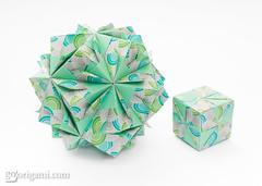 Origami Sonobe (Maria Sinayskaya) Tags: 15cmtraditionalpatternset3 cf21k3 folded jongienara kamipaperduoprintcolor kusudama mariasinayskaya modularorigami origami origamisonobe square мариясинайская