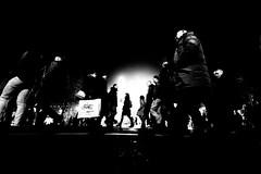 """what the hell is that guy doing down there? (Hendrik Lohmann) Tags: street streetphotography nightshot nikon nikondf people duesseldorf hendriklohmann wideangle blackandwhite night nightlife"