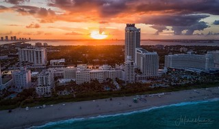 South Beach and the Miami Skyline at Sunset.