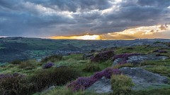 Curbar Edge Sunset...... (johngregory250666) Tags: nature british countryside camera lens green yellow orange stone nikon nikkor hiking walking lines clouds sky blue moss lichen out brook glow grass imagesofengland amazing sunlight water light sun outdoor grassland field landscape hill trees plant serene moors ridge great national park mountain moor moorland dale new d5200 rock formation rays edge heather tor world pass outside cloud temperature view peak district long england north overcast path flickr bright derbyshire stones blooming rural road