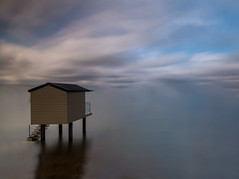 Beach Huts (4 of 4) (selvagedavid38) Tags: water nd10 neutral density beach sea ocean long exposure hut stilts essex heybridge osea reflection tranquil view clouds time tide river estuary filter relax horizon distance