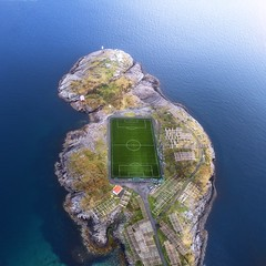 Stadium Game (Jay Daley) Tags: lofoten norway stadium football soccer henningsvaer phantom4pro phantom dji dronephotography aerialphotography aerial done