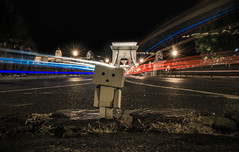 Danbo in Chain bridge,Budapest (Vagelis Pikoulas) Tags: canon 6d tokina 2470mm landscape city cityscape danbo toy chain bridge budapest buda pest hungary autumn september 2017 travel long exposure night niceshot street road