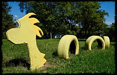 """Sea Monster"" (mrgraphic2) Tags: indianapolis indiana seamonster yellow monster tires creature funny creative"