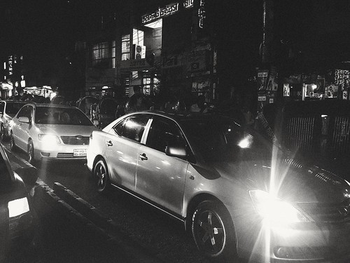 Cars. Night. Traffic. Dhaka. Bangladesh.