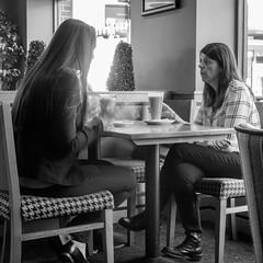 I'm telling ya ! (aquanout) Tags: blackandwhite monochrome people ladies women indoors interior coffeeshop