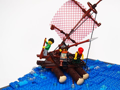 Raft (Dwalin Forkbeard) Tags: lego moc pirates ship sea ocean brave harpoon fish island palm raft escape wind whale teeth monster beast